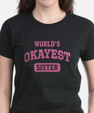 World's Okayest Sister Vintag Women's Dark T-Shirt