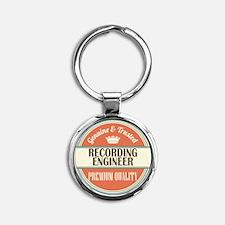 recording engineer vintage logo Round Keychain
