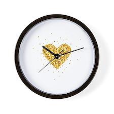 Cute Gold heart Wall Clock