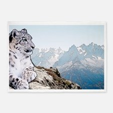 Snow Leopard Drawing 5'x7'Area Rug
