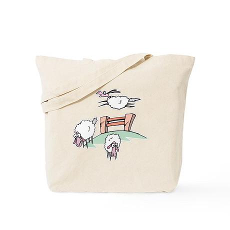 Cute Sheep Jumping Fence Tote Bag
