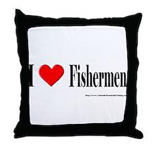 I Heart Fishermen Throw Pillow