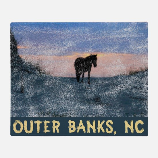 Outer Banks Dune Wild Horse Throw Blanket