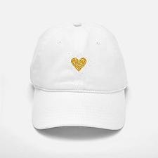 Gold Glitter Heart Illustration Baseball Baseball Cap