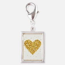 Gold Glitter Heart Illustration Charms