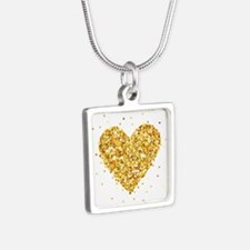 Gold Glitter Heart Illustration Necklaces