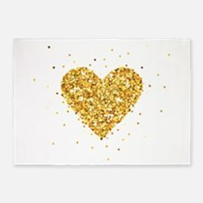 Gold Glitter Heart Illustration 5'x7'Area Rug