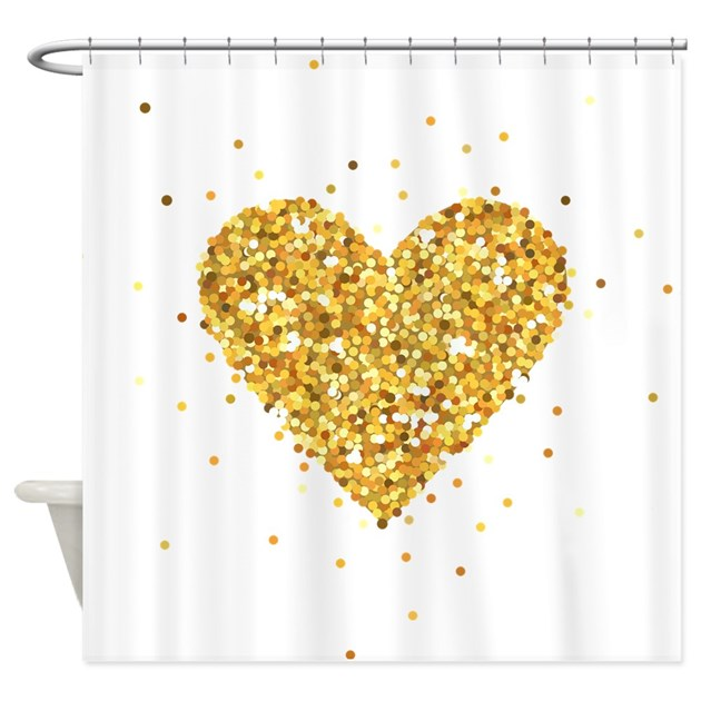 Gold Glitter Heart Illustration Shower Curtain By Admin Cp63016328