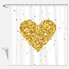 Gold Glitter Heart Illustration Shower Curtain