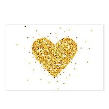 Gold Glitter Heart Illust Postcards (Package of 8)