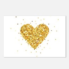 Gold Glitter Heart Illust Postcards (Package of 8)