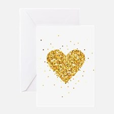 Gold Glitter Heart Illustration Greeting Cards