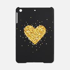 Gold Glitter Heart Illustration iPad Mini Case