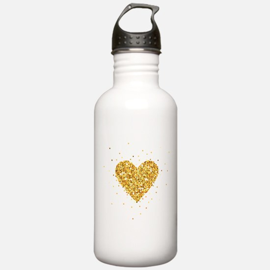Gold Glitter Heart Ill Sports Water Bottle