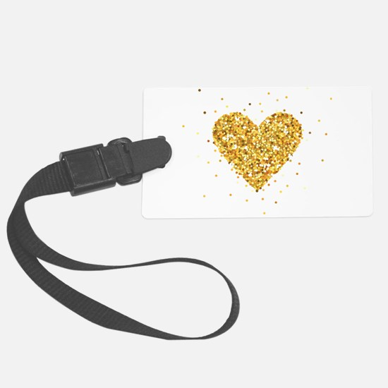 Gold Glitter Heart Illustration Large Luggage Tag