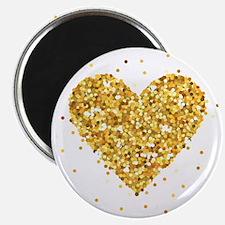 Gold Glitter Heart Illustration Magnets