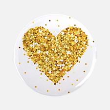 "Gold Glitter Heart Illustra 3.5"" Button (100 pack)"
