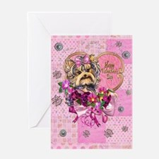 Yorkie Valentine Puppy Greeting Cards