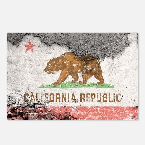 california flag concrete wall Postcards (Package o