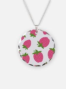 Pink Strawberry Pattern Necklace