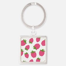 Pink Strawberry Pattern Square Keychain