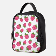 Pink Strawberry Pattern Neoprene Lunch Bag
