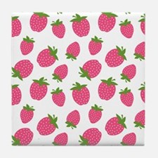 Pink Strawberry Pattern Tile Coaster