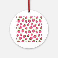Pink Strawberry Pattern Round Ornament