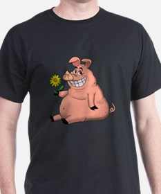 Pig With a Daisy T-Shirt