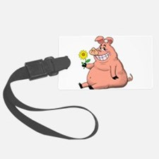 Pig With a Daisy Luggage Tag