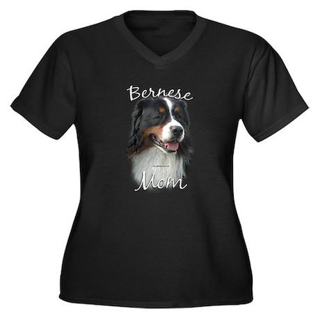 Berner Mom2 Women's Plus Size V-Neck Dark T-Shirt