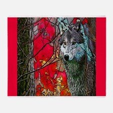 Red Forest Wolf Accent 1 Throw Blanket