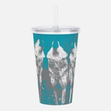 3 Wolves Blue Acrylic Double-wall Tumbler
