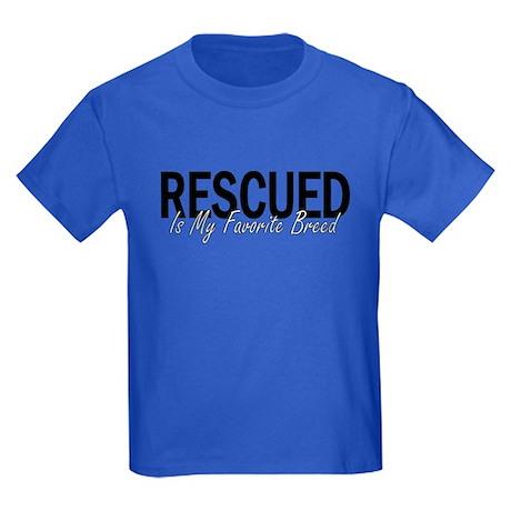 Rescued is My Favorite Breed Kids Dark T-Shirt