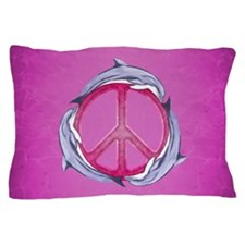 Dolphin Peace Pink Pillow Case