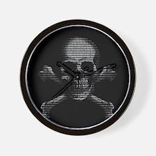 Hacker Skull and Crossbones Wall Clock
