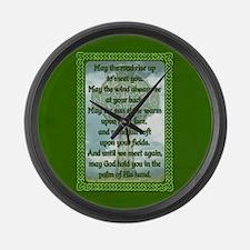Green Irish Blessing Large Wall Clock