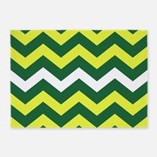Bold Green and Yellow Stripes 5'x7'Area Rug