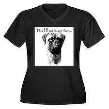 Cute Bull mastiff Women's Plus Size V-Neck Dark T-Shirt