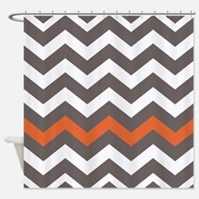 Gray With A Orange Border Shower Curtain