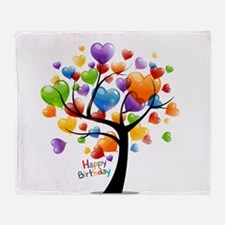 Happy birthday balloons tree Throw Blanket