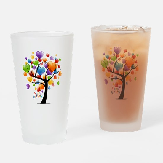 Happy birthday balloons tree Drinking Glass