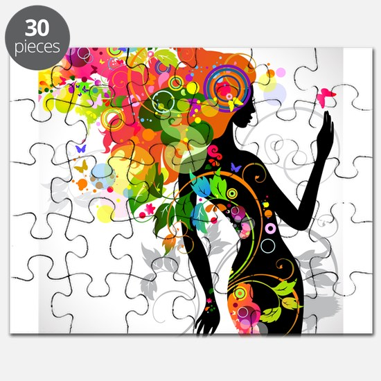 Psychedelic woman Puzzle