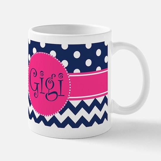Gigi - Pink and Blue - Chevron & Polka Dots Mugs