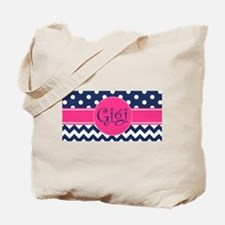 Gigi - Pink and Blue - Chevron & Polka Do Tote Bag