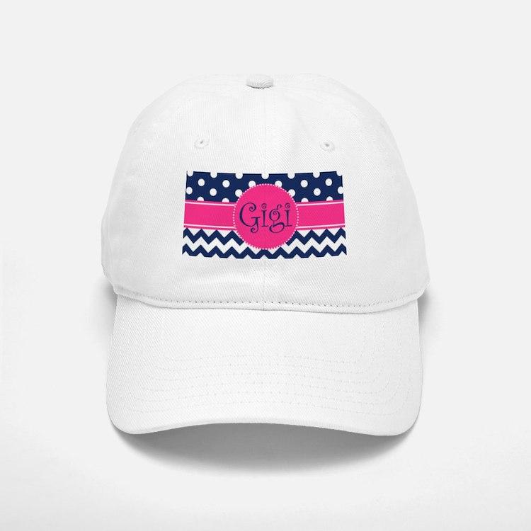 Gigi - Pink and Blue - Chevron & Polka Dots Baseball Baseball Cap