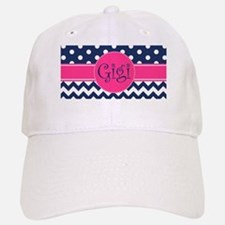 Gigi - Pink and Blue - Chevron & Polka Dots Cap