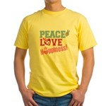 Peace Love and Happiness Yellow T-Shirt