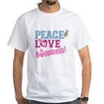 Peace Love and Happiness White T-Shirt