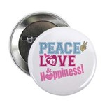 Peace Love and Happiness Button